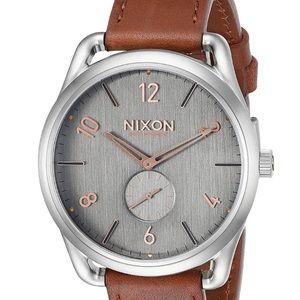 NIXON Watch C45 Leather Gray/rose head gold NWT!